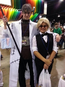 Mya at Anime Central 2014, cosplaying as Shizuoka Heiwajima from Durarara, with mad scientist Franken Stein from Soul Eater