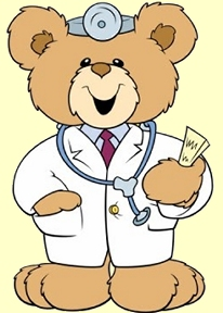 Teddy bear in doctor's outfit