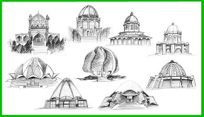 Sketch of 9 Baha'i Houses of Worship
