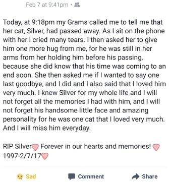 Mya's eulogy to Silver on her Facebook page