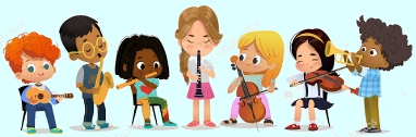 7 diverse children happily playing 7 different instruments together