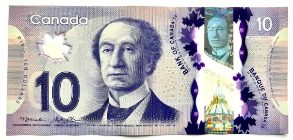 Colorful Canadian dollars