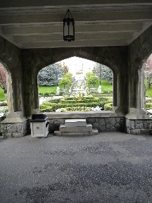 Port-cochere at main entrance of Hatley Castle