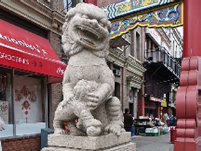 Chinatown lion at the gate