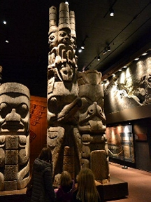 First Nations statues in museum
