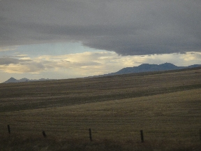 Sweet Grass Hills rising starkly from the plains