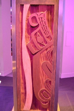 Bear side of Interactive Language Light Pillar by Francis Dick of the Kwakwaka'wakw