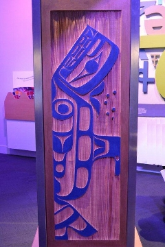 Whale side of Interactive Language Light Pillar by Francis Dick of the Kwakwaka'wakw