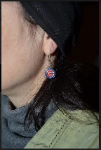Marielle wearing Cubs earrings