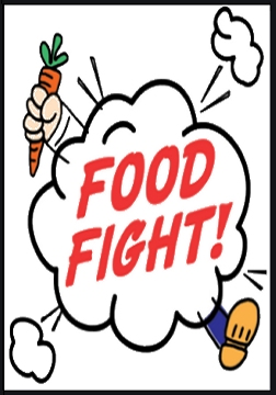 Cartoon of a 1-person food fight