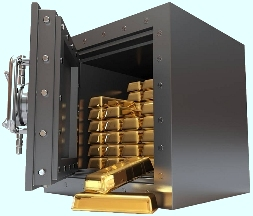 Open safe full of gold bars