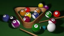 Pool balls, rack, cues, and chalk