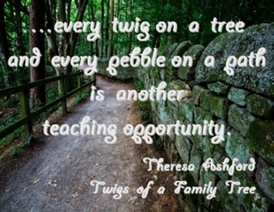 ...every twig on a tree and every pebble on a path is another teaching opportunity. #Teaching #OpportunityKnocks #TwigsOfAFamilyTree