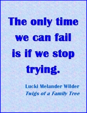 The only time we can fail is if we stop trying. #Failure #DontGiveUp #TwingsOfAFamilyTree
