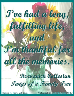 I've had a long, fulfilling life, and I'm thankful for all the memories. #Memories #ThankfulForMemories #TwigsOfAFamilyTree