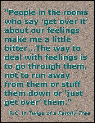 "People in the rooms who say ""get over it"" about our feelings make me a little bitter ... The way to deal with felings is to go through them, not to run away from them or stuff them down or ""just get over"" them. #Feelings #GetOverIt #TwigsOfAFamilyTree"