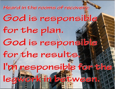 God is responsible for the plan. God is responsible for the results. I'm responsible for the legwork in between. #Responsibility #Legwork #Recovery