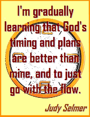 I'm gradually learning that God's timing and plans are better than mine, and to just go with the flow. #GodsWill #GoWithTheFlow #JudySelmer