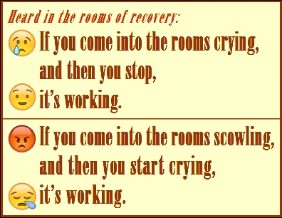 If you come into the rooms crying, and then you stop, it's working. If you come into the rooms scowling, and then you start crying, it's working. #ItsWorking #Crying #Recovery