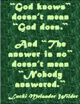 """God knows"" doesn't mean ""God does."" And ""The answer is no"" doesn't mean ""Nobody answered."" #Prayer #GodKnows #LuckiMelanderWilder"