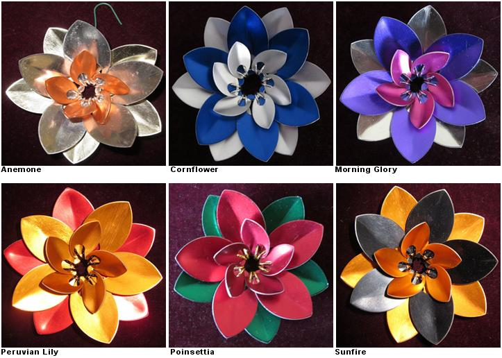 6 Scale Mail Flower ornaments